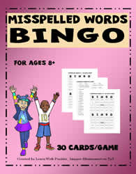 Misspelled Words Bingo Game#01