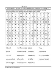 Misspelled Words Wordsearch