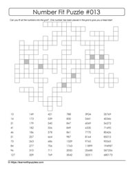 13th Number Fit Puzzle