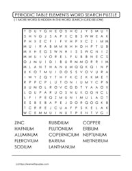 Periodic Table Wordsearch