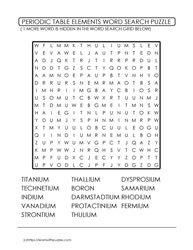 15 Periodic Table WordSearch