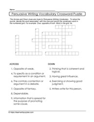 Crossword Persuasive Writing Puzzle