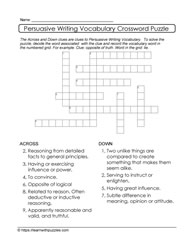 Writing Form - Persuasive Crossword Puzzle