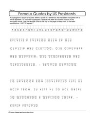 Presidential Quotes Cryptogram Puzzle