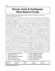 WordSearch Puzzle with Clues