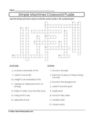 Crossword Puzzle Simple Machines