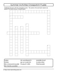 Crossword Like Summer Puzzle