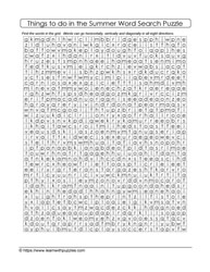 Activities in Summer - Word Search