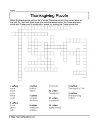 Vocabulary Thanksgiving Puzzle