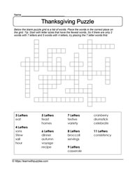 Easy Thanksgiving Puzzle