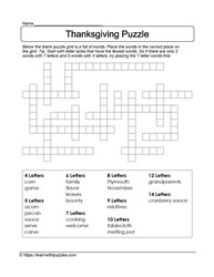 Thanksgiving Fill Blanks Puzzle