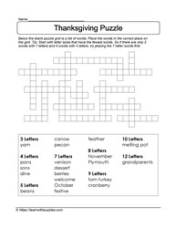 Thanksgiving Fill the Blanks Puzzle