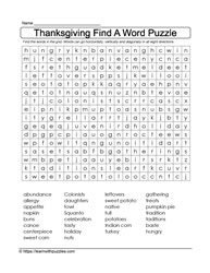 Thanksgiving WordFind Puzzle