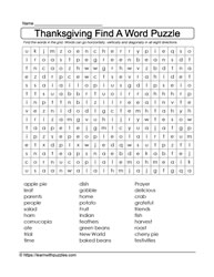 Thanksgiving Vocabulary Find a Word