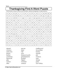 Give Thanks WordSearch Puzzle