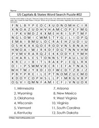 US Capitals&States Wordsearch