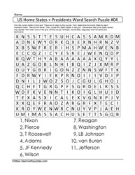 Home States&Presidents Wordsearch