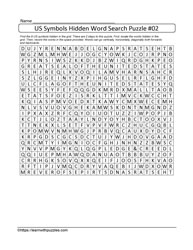 Hidden US Symbols Wordsearch