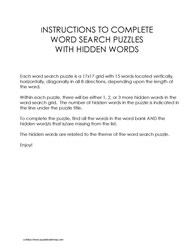 Instructions-Word Search Puzzles