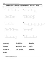 Christmas Word Shapes Puzzle